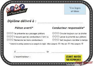 Diplôme sécurité routière enfants verso www.tousenroute.com