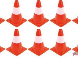 Jeu de 10 cônes de signalisation et balisage pour circuits d'éducation à la sécurité routière enfants