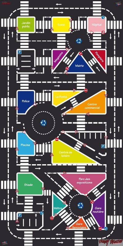 Plan du Circuit d'éducation routière école démontable 72m2 - www.tousenroute.com