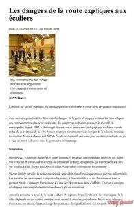 Les dangers de la route expliqués aux écoliers - Agglomération d buggybrousse.com