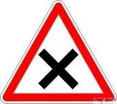 Panneau Attention Croisement avec priorité à droite - AB1